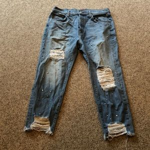 Seven for all Mankind distressed ankle crop jeans